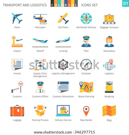 Transport And Logistics Colorful Icons Set 01 - stock vector