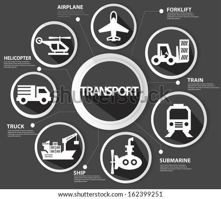 Transport and logistics concept,Black version,vector - stock vector