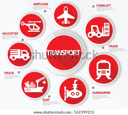 Transport and logistics concept,Red version,vector