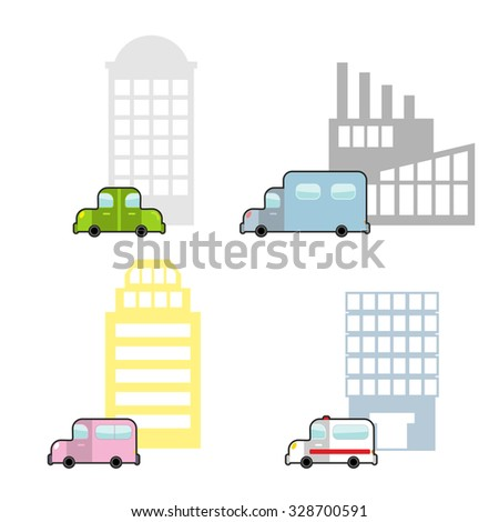 Transport and public buildings set cartoon style. Skyscraper and a car. Ambulance and hospital. Plant and truck. - stock vector