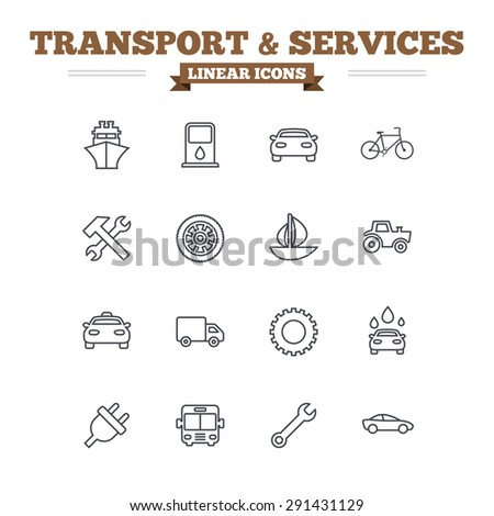 Transport and services linear icons set. Ship, car and public bus, taxi. Repair hammer and wrench key, wheel and cogwheel. Sailboat and bicycle. Thin outline signs. Flat vector - stock vector