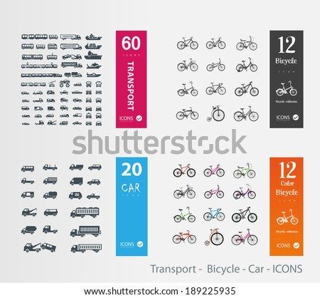 Transport -  Bicycle - Car - ICONS - stock vector