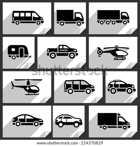Transport black icons on white paper stickers-03 - stock vector