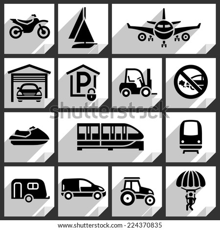 Transport black icons on white paper stickers-08 - stock vector