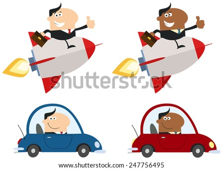 Transport Business Man. Flat Style Vector Collection Set Isolated On White - stock vector