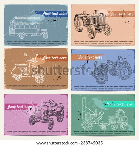 Transport cards. tractor, bus, scooter - stock vector