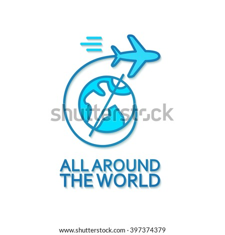 Transport Concept. Concept of Airplane, Air Craft Shipping, Travel Around the World. Vector illustration - stock vector