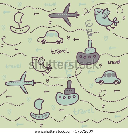 Transport concept. Seamless pattern in green - stock vector