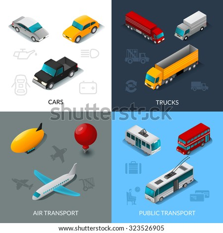 Transport design concept set with cars trucks air and public transport isometric icons isolated vector illustration - stock vector