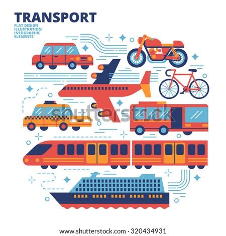 Transport, Flat Design, Illustration - stock vector
