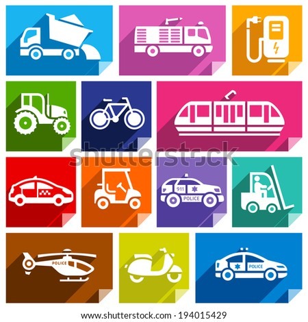 Transport flat icons with shadow, stickers square shapes, bright colors - Set 04 - stock vector