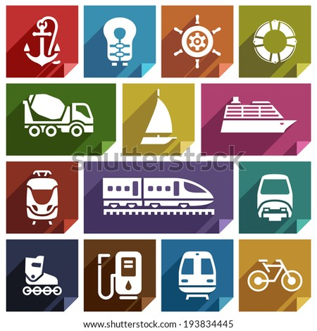 Transport flat icons with shadow, stickers square shapes, retro colors - Set 01 - stock vector