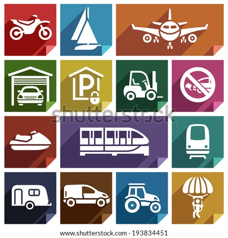 Transport flat icons with shadow, stickers square shapes, retro colors - Set 08 - stock vector