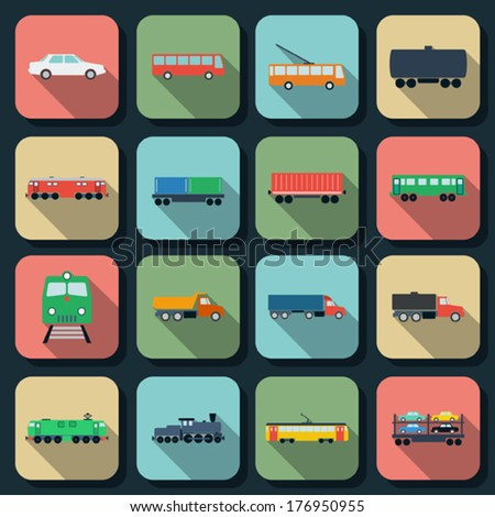 Transport flat vector icons - stock vector