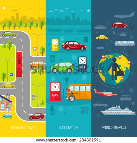 Transport flat vertical banner set with gas station and world travels elements isolated vector illustration - stock vector