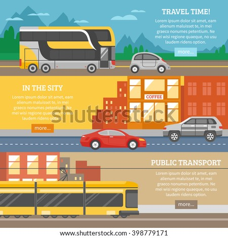 Transport for city and travel banners with tram cars building highway roads mountain landscape isolated vector illustration - stock vector