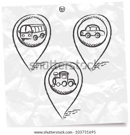 transport GPS and MAP icon set - stock vector