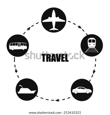transport icon black circle shape with arrow - stock vector