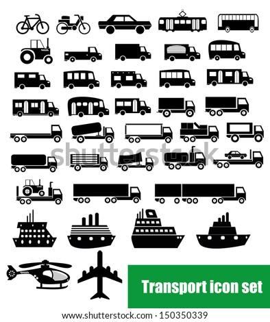 Transport icon set - stock vector