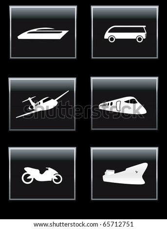 Transport icon set with  silhouettes of plane, ship, train and other. Vector illustration. - stock vector