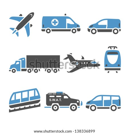 Transport Icons - A set of seventh. Vector illustrations, set silhouettes isolated on white background. Bicolor (blue and gray colors). - stock vector