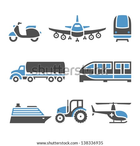 Transport Icons - A set of tenth. Vector illustrations, set silhouettes isolated on white background. Bicolor (blue and gray colors). - stock vector
