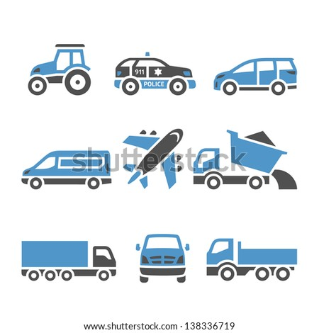Transport Icons - A set of twelfth. Vector illustrations, set silhouettes isolated on white background. Bicolor (blue and gray colors). - stock vector