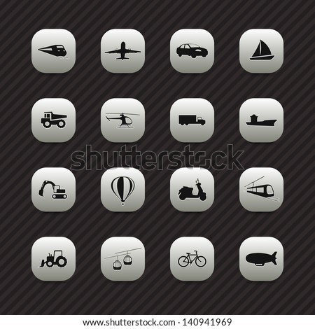 Transport icons / buttons set - stock vector
