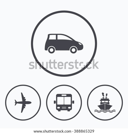 Transport icons. Car, Airplane, Public bus and Ship signs. Shipping delivery symbol. Air mail delivery sign. Icons in circles. - stock vector
