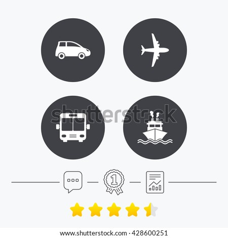 Transport icons. Car, Airplane, Public bus and Ship signs. Shipping delivery symbol. Air mail delivery sign. Chat, award medal and report linear icons. Star vote ranking. Vector - stock vector