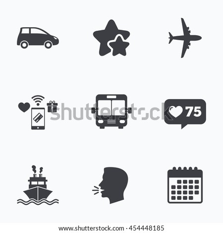 Transport icons. Car, Airplane, Public bus and Ship signs. Shipping delivery symbol. Air mail delivery sign. Flat talking head, calendar icons. Stars, like counter icons. Vector - stock vector