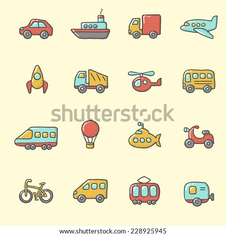 Transport icons � cartoon, hand drawn style - stock vector