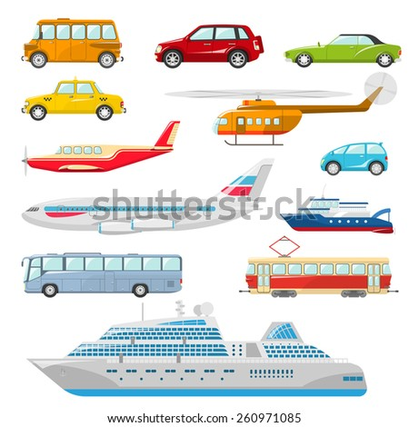Transport icons flat set with taxi bus helicopter tram ship isolated vector illustration - stock vector