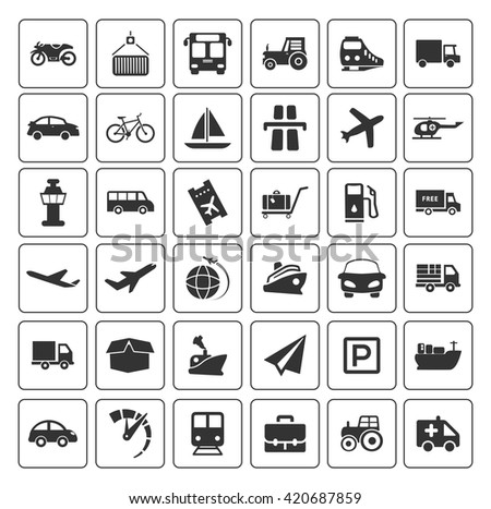 Transport icons set - stock vector