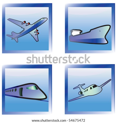 Transport  icons set blue. Vector illustration. - stock vector