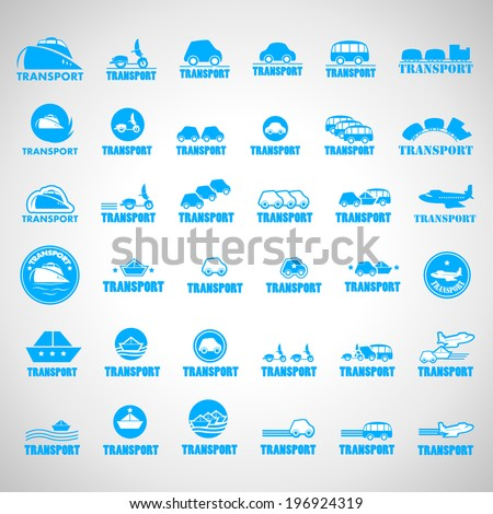 Transport Icons Set - Isolated On Gray Background - Vector Illustration, Graphic Design Editable For Your Design - stock vector
