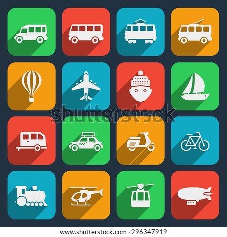 Transport icons set. Taxi and train, motorcycle and moped, boat and airplane, helicopter and bicycle. Vector illustration - stock vector