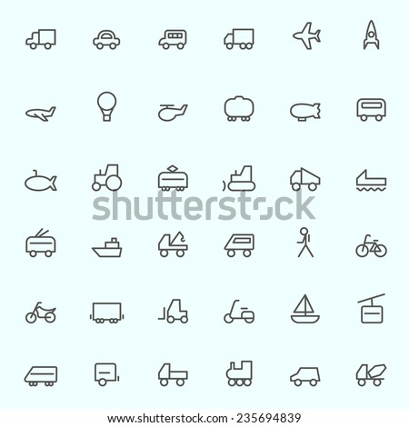 Transport icons, simple and thin line design - stock vector