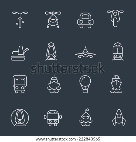 Transport icons - thin line design on dark background - stock vector