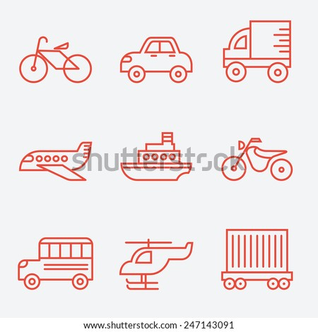Transport icons, thin line style, flat design - stock vector