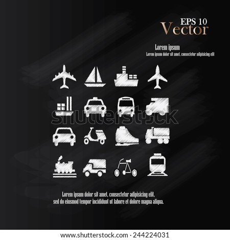 Transport icons,transportation icon on chalkboard,transportation vector illustration,logistics,logistic icon vector