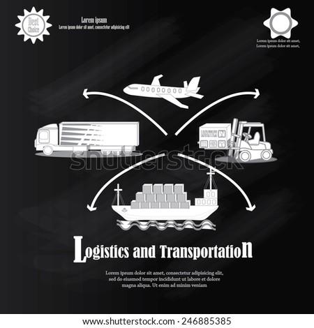 Transport icons,transportation icon on chalkboard,transportation vector illustration,logistics,logistic icon vector         - stock vector