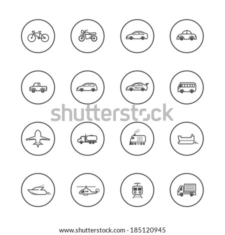 Transport Icons Vector - stock vector