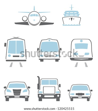 Transport icons. Vector set - stock vector