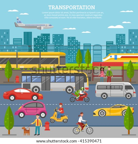 Transport in city poster with people and movement of airplane train tram bus individual vehicles vector illustration - stock vector