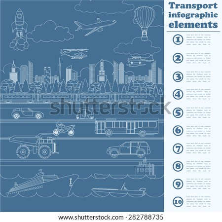 Transport infographics elements. Cars, trucks, public, air, water, railway transportation. Retro styled illustration. Vector - stock vector