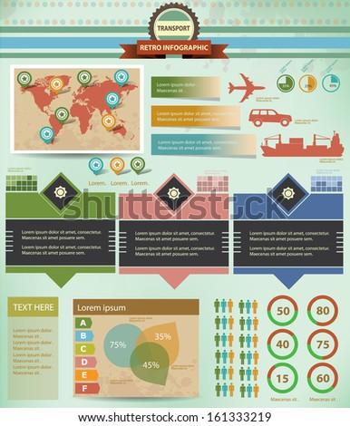 Transport Infographics,Graphics design,retro style version 2,vector - stock vector