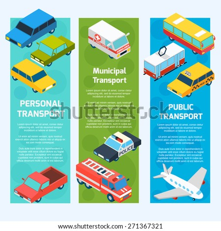Transport isometric banners vertical set with 3d passenger vehicles isolated vector illustration - stock vector