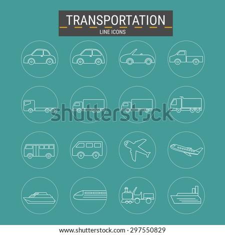 Transport line icons set ,transportation ,logistics .Vector Illustration . - stock vector