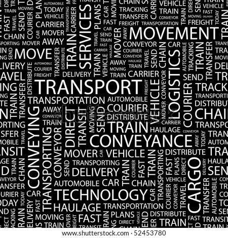 TRANSPORT. Seamless vector pattern with word cloud. - stock vector